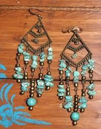 Black Bead Earrings Bronze Chandelier Handmade Hippie Ethnic Aztec Boho Beads Brown Wooden Chandelier