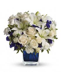 funeral flower sapphire skies bouquet at from you flowers