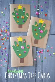 handprint christmas tree cards kid craft glued to my crafts
