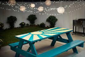 diy sunburst painted picnic table the home depot blog