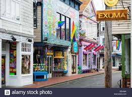 colorful shops in provincetown cape cod massachusetts usa stock