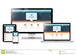 flat fully responsive website web design in modern stock vector