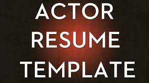 How To Make A Talent Resume How To Create An Acting Resume Youtube