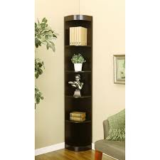furniture tall narrow corner shelves in trendy espresso design