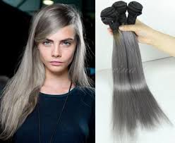 Blonde Weft Hair Extensions by Cheap 2tone Ombre Blakc Roots Grey1bgrey Straight Brazilian Human