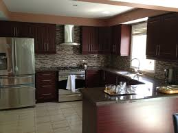 Black And Brown Kitchen Cabinets U Shaped Brown Wooden Kitchen Cabinets With Black Countertop