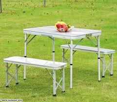 folding table with bench 4 person aluminium foldable table two bench chair set for picnic
