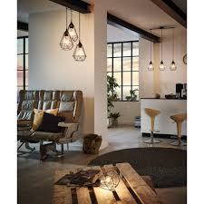 suspension cuisine suspension barre 3 lumières en fil de métal longueur 79cm tarbes noir