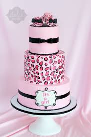 baby girl shower cakes leopard cheetah baby shower cake its a girl cakecentral
