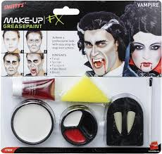 vampire halloween teeth smiffy u0027s vampire make up set with fangs sponge smiffys amazon co