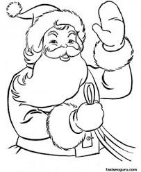 christmas coloring pages santa waves children printable