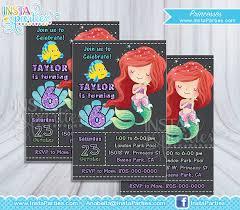 ariel invitation princess party little mermaid invitations
