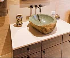 Bathroom Vanity For Vessel Sink Bathroom Vanity Of Macassar Ebony With Stone Vessel Sink