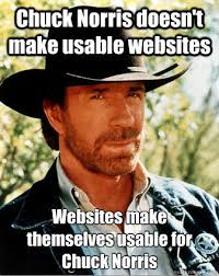 Meme Websites - chuck norris doesn t make usable websites websites make