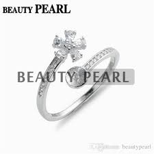 ring mountings pearl ring mountings shiny cubic zirconia 925 sterling silver
