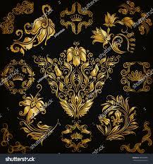 set gold damask ornaments floral elements stock vector 309263030