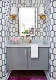 Gray Bathroom Vanity Powder Room Love Arabesque Tiles Limestone Tops Kohler Kathryn