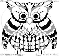 clipart owl black and white clipart of a black and white owl royalty free vector