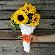 sunflower wrapping paper sprucing up a cheap bouquet jillson