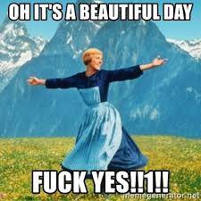 Fuck Yes Meme - oh it s a beautiful day fuck yes 1 sound of music lady meme