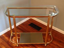 two tier brass u0026 glass curved demilune console table