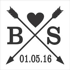 create monogram initials custom initials with heart arrows and date reusable stencil 01