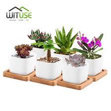 online get cheap bonsai ceramic pots aliexpress com alibaba group wituse 6pcs set tiny bonsai pot modern decorative white square ceramic succulent plant flower pot