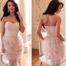 feather fur cocktail dresses 2017 pearls beaded top short party