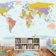 world map wallpaper mural world map poster for kids room home