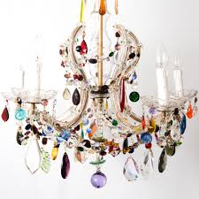 Multi Coloured Chandeliers 6 Arm Crown Shaped Therese With Multi Coloured Drops The