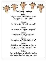 five plump turkeys thanksgiving shared reading ordinal numbers