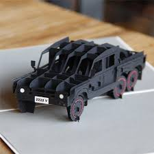 jeep cake topper car greeting card invitation 3d pop up papercraft six wheels