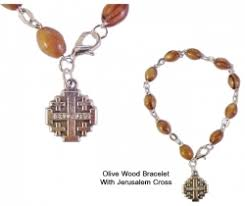 olive wood rosary wood rosary bracelet with jerusalem cross