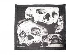 irish linen and merino wool blanket skulls tielle love luxury