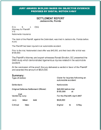 accident settlement letter template settlement report hillsborough county circuit court florida pdf the plaintiff had been injured in an automobile accident prior to the trial nationwide