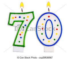 number birthday candles birthday candles number seventy isolated on white background stock