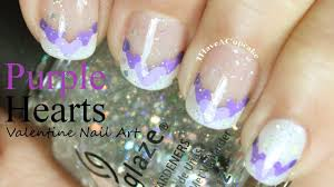valentine nail art purple hearts youtube