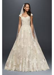 vintage wedding dresses with sleeves cap sleeve lace wedding gown with beading david s bridal