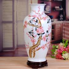Porcelain Flower Vases Pink Peach Flower Ceramic Vase Handpainted Modern Porcelain Flower