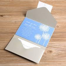 light blue wedding invitations light blue dandelion silver pocket wedding invitations ewpi041 as