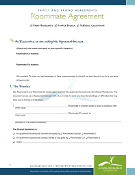 Sample Roommate Contract Roommate Agreement Pdf Family And Friend Agreements A Sane