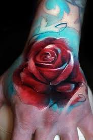 watercolor red rose tattoo on hand tattoos book