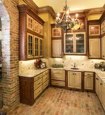 Mediterranean Tiles Kitchen West Coast Kitchen Mediterranean With Brick Floor Traditional Wall