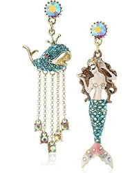 mermaid earrings deal on betsey johnson the sea mermaid and whale mismatch