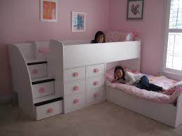 Bunk Bed With Stairs And Drawers Pink And White Children Girls Low Twin L Shaped Bunk Bed With