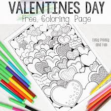 easy peasy coloring page hearts valentines day coloring page for adults easy peasy and fun