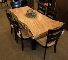 Maple Dining Room Table And Chairs Wormy Maple Live Edge Slab Table Solid Hardwood Furniture