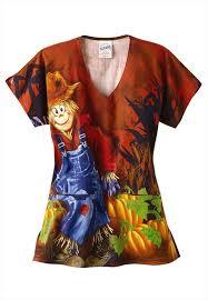 s c r u b s scarecrow ladies 2 pocket halloween print scrub top