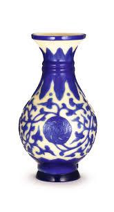 Blue Bottle Vase A Rare Sapphire Blue Overlay Glass U0027peony U0027 Bottle Vase Wheel Cut