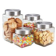 kitchen canister home basics 4 square steel top glass food storage kitchen